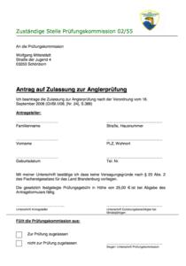 Antrag auf Zulassung Anglerprüfung Downloads-Anträge